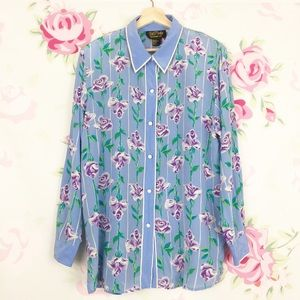 Bob Mackie Floral Silk Button Down Shirt XL